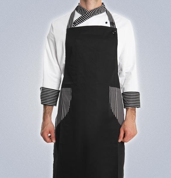 Μαύρη Ποδιά Κουζίνας Με Ριγέ Τσέπες